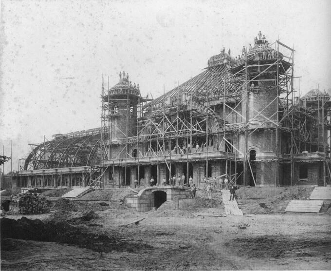 Bau des Gesellschaftshauses im Palmengarten vor 1899